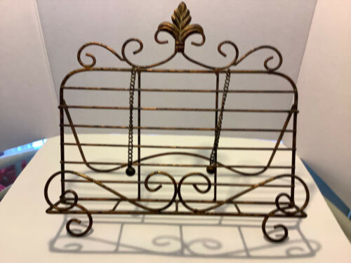 Folding Metal Cookbook Stand Holder Rack w/Page Markers Weights Antique Gold
