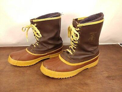 Vtg Kaufman Sorel Arctic Pac Boots Men's 9 Leather Waterproof Rubber Wool Liner