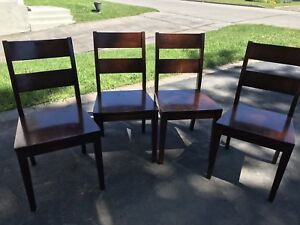 Solid kitchen wood chairs x4