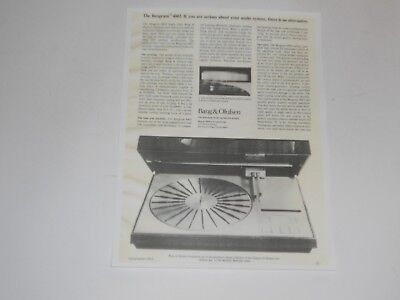 Bang & Olufsen Beogram 4002 Turntable Ad, 1 Page, 1974, Articles and Info