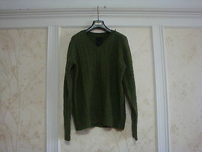Used, NWT G-STAR RAW MENS FOREST GREEN LAMBSWOOL V-NECK CABLE SWEATER L for sale  Brooklyn