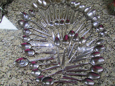 HUGE LOT OF 47 STAINLESS SPOONS MIXED PATTERNS BRANDS NORTHLAND DELCO SILCO EKCO