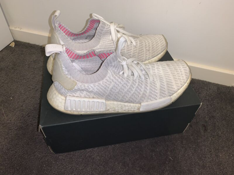 Adidas NMD_R1 STLT PK Mens Trainers White Grey and pink US9