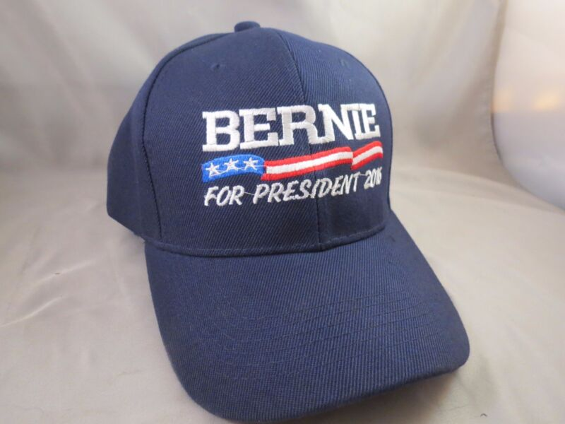 EMBROIDERED BERNIE SANDERS FOR USA PRESIDENT BASEBALL TRUCKER HAT 2016 FLAG BLUE