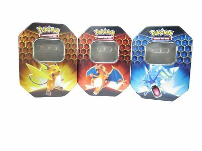 3 x EMPTY Pokemon Hidden Fates Raichu Gyarados & Charizard GX Collectors Tin!