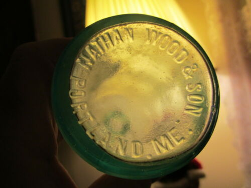 NATHAN WOOD & SON PORTLAND ME,Blown 6 1/4 in Dug bottle Blown 1890-1910