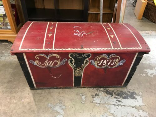 Antique Norwegian Immigrant Travel Trunk Folk Art 1873 Norway Wood Chest