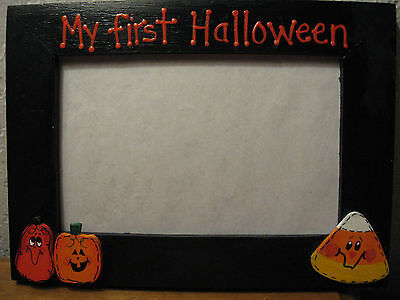 MY FIRST HALLOWEEN - personalized baby holiday pumpkin ghost photo picture frame (Personalized Halloween Frames)