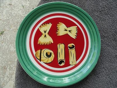 Rim Pasta Plate - Wolfgang Puck Live, Love, Eat Red Center Green Rim Yellow Pasta Dinner Plate