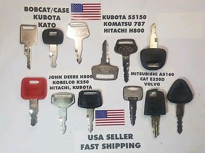12 Equipment Ignition Key Set Hitachi John Deere Cat Volvo Kubota Bobcat