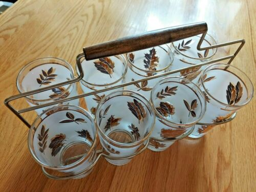 Vintage Libbey Gold Leaf Drinking Tumbler Glasses Bar Set of 8 Metal Caddy MCM
