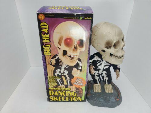 """2001 Gemmy 16"""" Big Head Halloween Singing Dancing Skeleton Super Freak SEE VIDEO"""