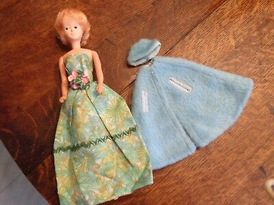 VINTAGE AMERICAN CHARACTER GROWIN HAIR MARY MAKEUP DOLL W/HOMEMADE GOWN CLOTHES