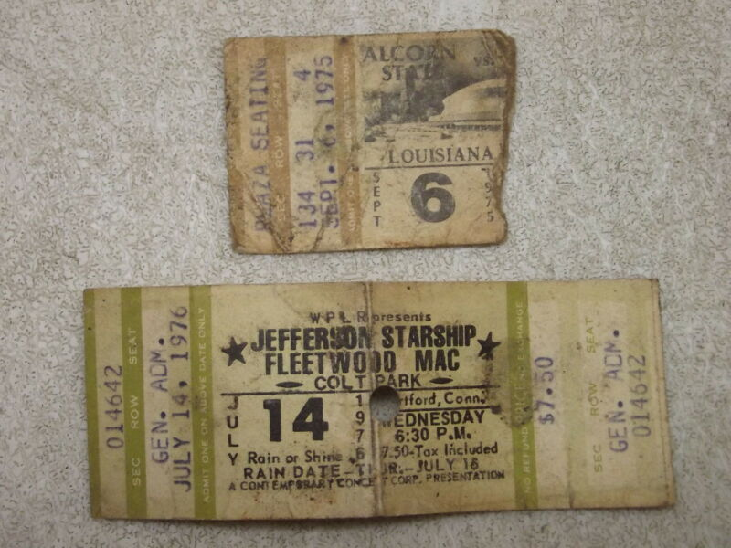 VINTAGE JEFFERSON STARSHIP & FLEETWOOD MAC CONCERT TICKET 1976