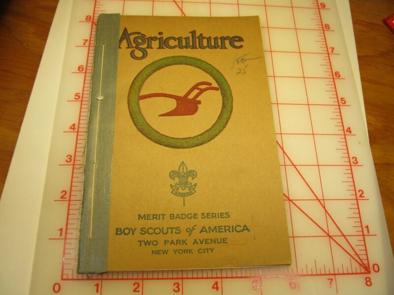 Tan cover Agriculture merit badge book December 1937 type (3B)