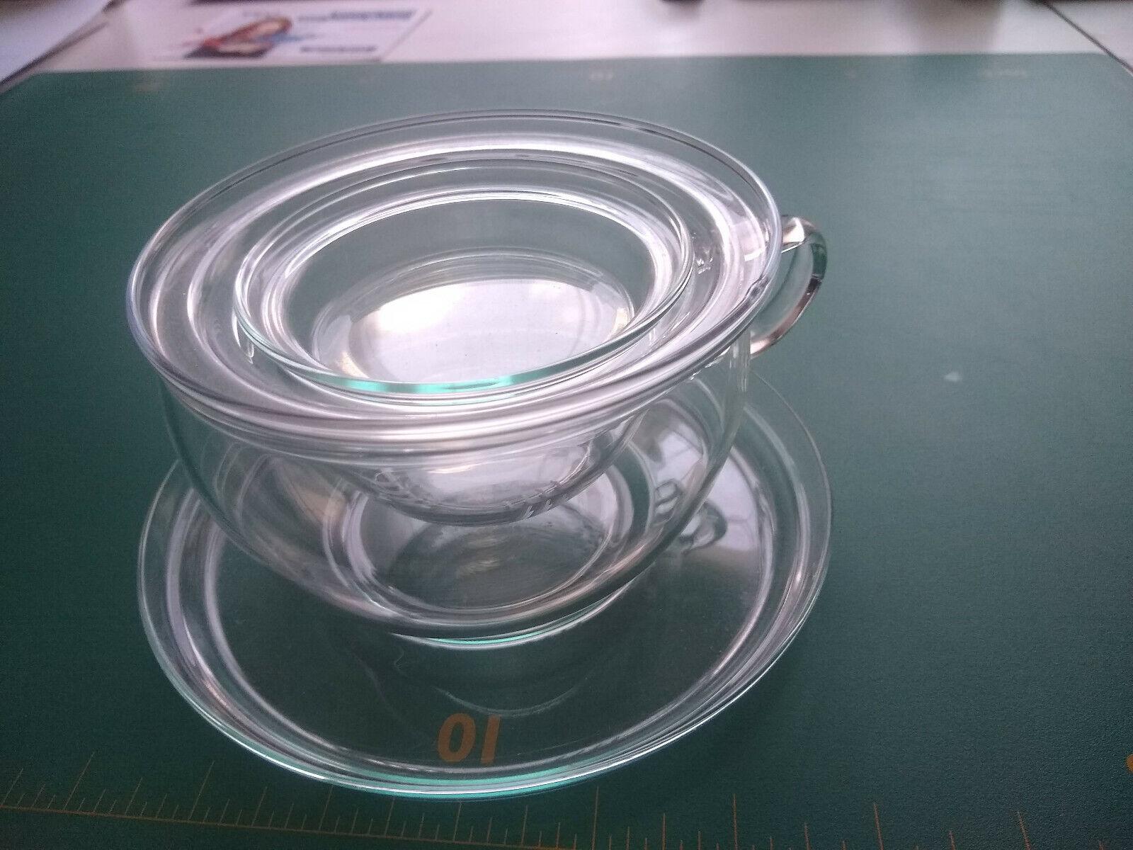 Trendglas Jena Glas Teetasse mit Untertasse, Filter und Deckel