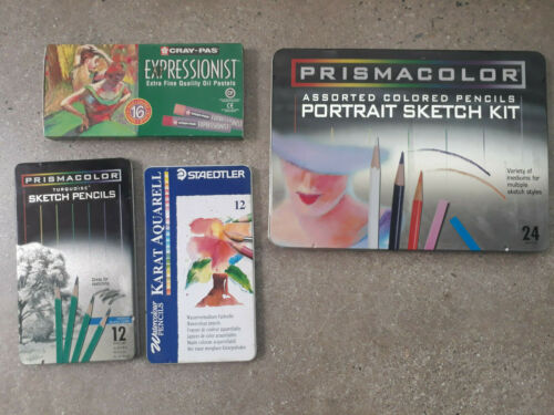 Lot of Artist Quality Supplies Prismacolor Pencils Oil Pastels Staedtler