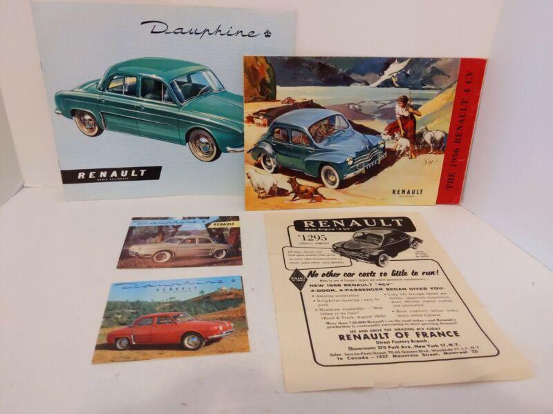 1956 Renault Sales Brochures Flyers Dauphine 4 CV Made In France Import