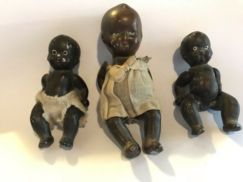 Set of 3 Small Black Bisque Hinged Babies - 1930-1940