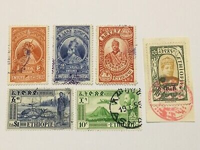 old stamps  ETHIOPIA   x  6  on/off paper