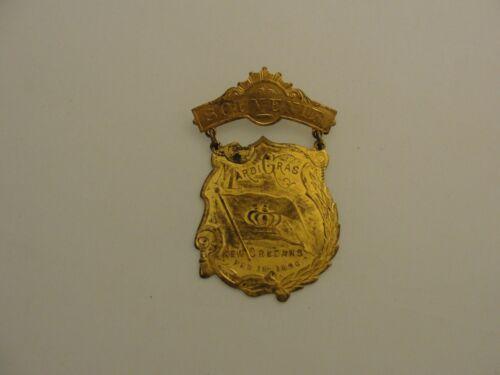 ANTIQUE RARE FEB 18 1896 MARDI GRAS SOUVENIR PIN