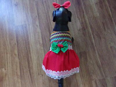 dog dress,Cinco de Mayo,chevron stripes,red&lace trim,XS*(read size details) (Cinco De Mayo Dog)