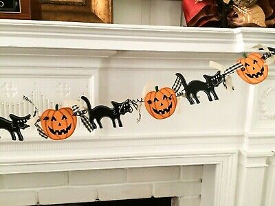 "Cute Halloween 67"" Garland Wood Jack O Lanterns & Black Cats, Primitive"