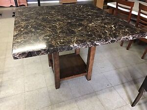 Marble surface dining table