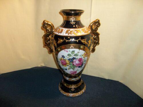"""Vintage Gold/ Enamel European Design Decorative Porcelain Double Handle Vase 18"""""""