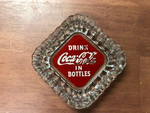 Vintage Drink Coca Cola in Bottles Diamond Cut Glass Ashtray