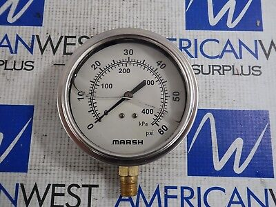 Marsh Pressure Gauge 0-60 Psi 0-400 Kpa Used