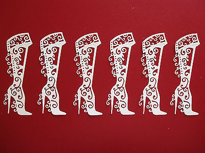 """6 Tattered Lace Die Cut Filigree """"Boots"""" Embellishments"""