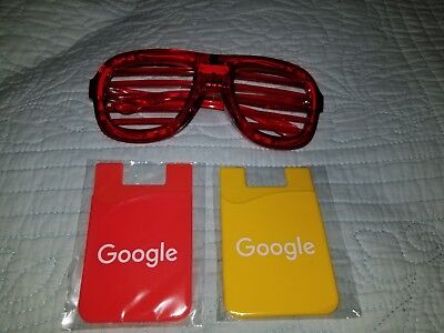 Google Products Lot- 1 Flashing Rave LED Light Up Party Glasses+ 2 Phone Wallets - Led Sunglasses Wholesale