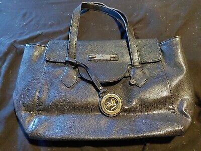 Faux Versace Leather Handbag Medium Black Flap Closure very nice Sent USPS