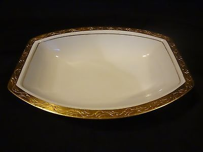 Rosenthal China- Ivory w/Gold Encrusted Band - Rectangular Serving Bowl- (Banded Ivory China Serving Bowl)