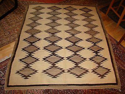 Large Antique Navajo Rug Native American Natural Weaving Blanket 5X6