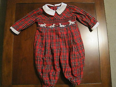 Carriage Boutiques Girl Red Plaid Smocked Dalmatian Dog Romper 6 month EUC](Dalmatian Baby Clothes)