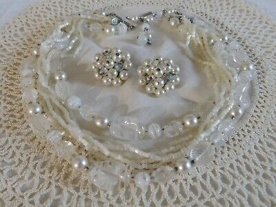 Vintage White Glass/Pearl Beaded Bib Necklace and Laguna Cluster Earrings