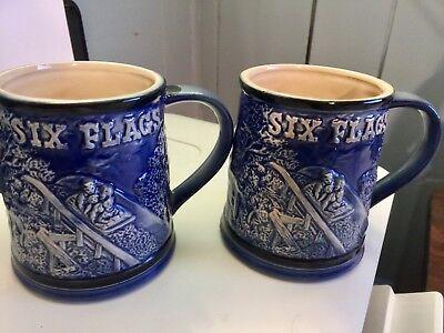 Vintage 1970's Six Flags Amusement Park 3D Raised Ceramic Cup Mug Souvenir Blue