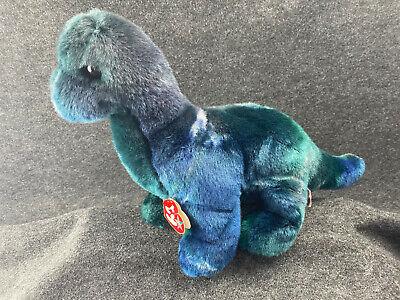 TY Beanie Buddies ~ 1999 Bronty the Brontosaurus Blue Green Dinosaur Plush ~ 10