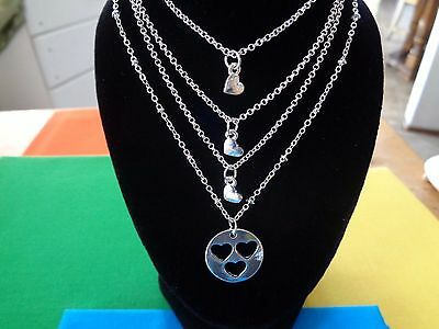 4Pcs Set Birthday Gift Jewelry Alloy Mother Daughter Sister Necklace