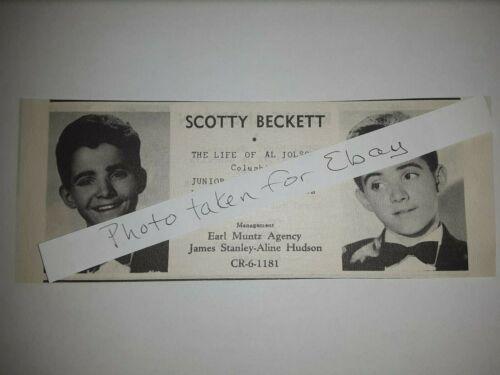 Scotty Beckett Original 1940s actors casting ad