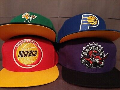 Vintage Mitchel & Ness Snapback hat NBA lot (4) Bucks Rockets Pacers Raptors