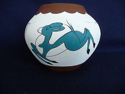 """Unique Hand Painted 4.5"""" Clay Vase w/ Jumping Deer Signed"""