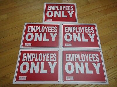 5x- Red White Flexible Plastic Employees Only Sign 9 X 12 Inch Us Seller