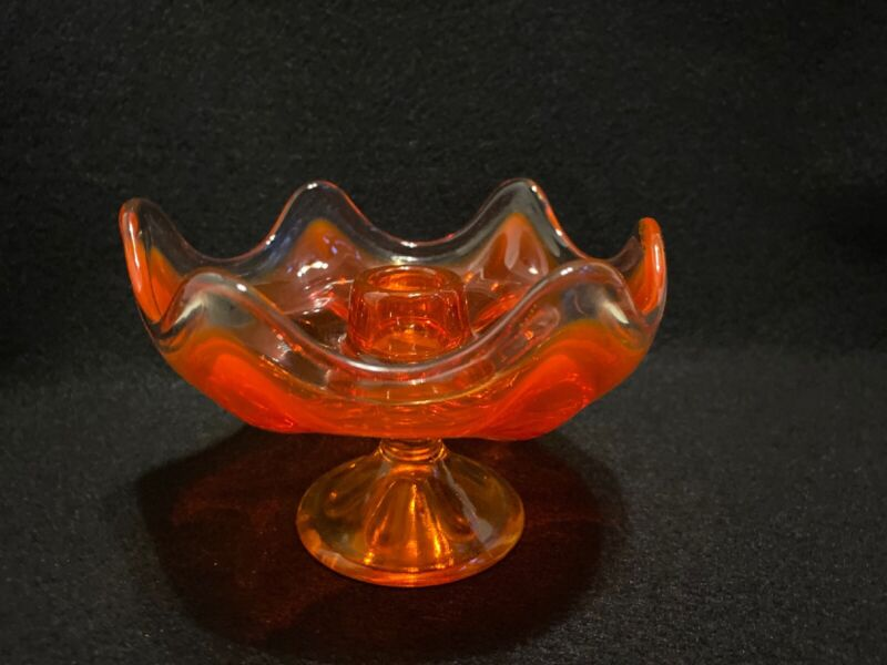 Viking Glass Pedestal AMBERINA Candlestick Orange gold amber VINTAGE