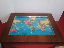 VTG Howard Miller 1959 World Time Zone Map Electric Light Up Clock Wood WORKS