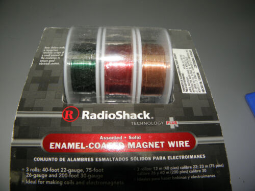 RADIOSHACK 278-1345 3-ROLLS ASSORTED SOLID ENAMEL-COATED MAGNET WIRE NEW
