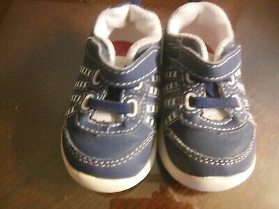 Baby Boy Healthtex Casual Shoes, Sz 3, Navy Blue w/Stripes