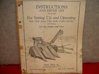 193 Instruction And Repair Parts List For New Idea Two Row Corn Picker